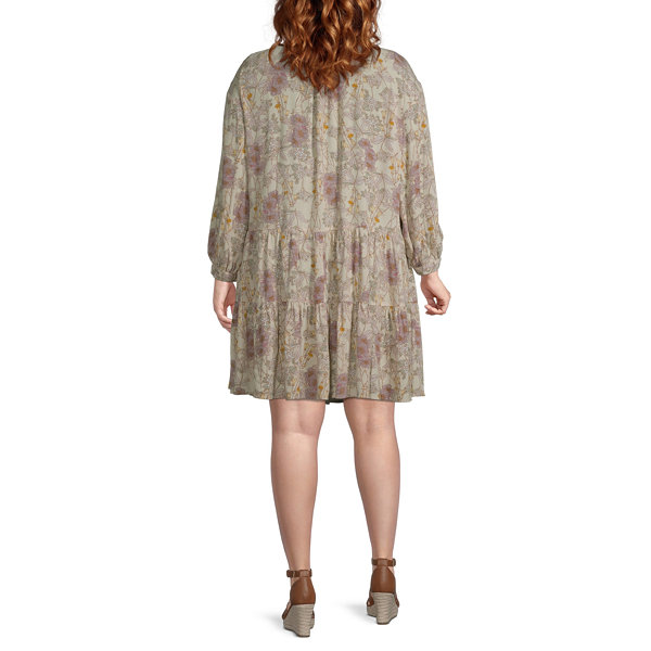 a.n.a 3/4 Sleeve Peasant Dress-Plus