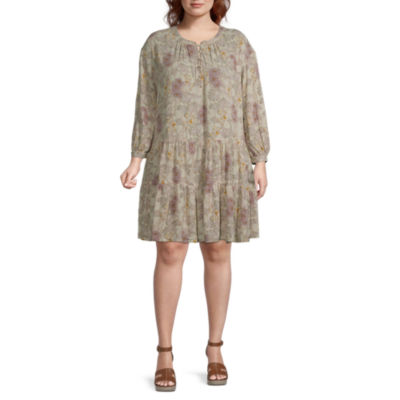 a.n.a. 3/4 Sleeve Peasant Dress-Plus