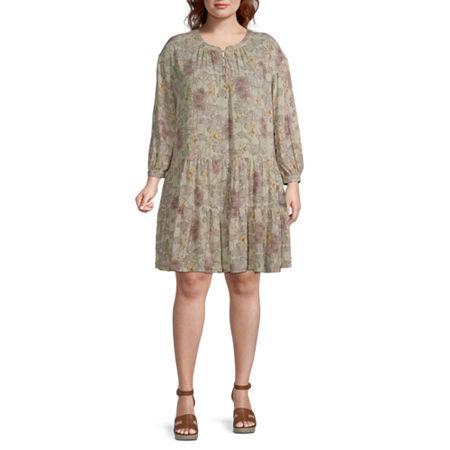 Vintage Style Dresses | Vintage Inspired Dresses a.n.a Long Sleeve Peasant Dress-Plus 0x  Beige $41.30 AT vintagedancer.com