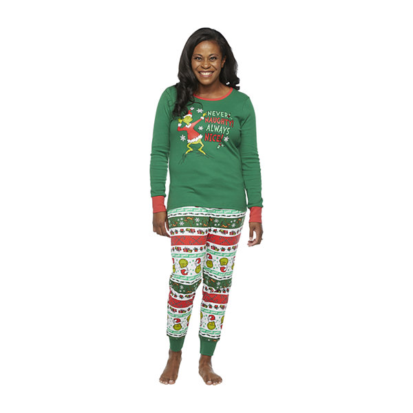 Dr. Seuss Grinch Holiday Family Womens-Petite Long Sleeve Pant Pajama Set 2-pc.