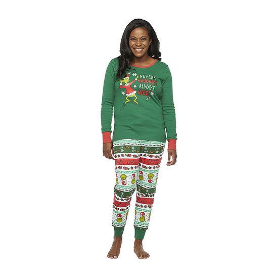 Dr. Seuss Grinch Holiday Family Womens-Tall Long Sleeve Pant Pajama Set 2-pc.