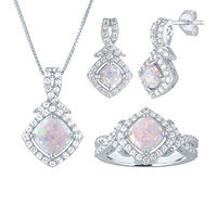 Lab Created White Opal Sterling Silver 3-pc. Jewelry Set Deals