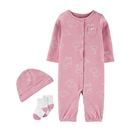 Carter's Converter Gown Baby Girls Knit Long Sleeve One Piece Pajama