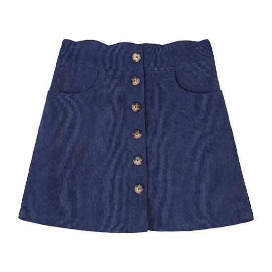 by&by girl Button Front Corduroy Big Girls A-Line Skirt