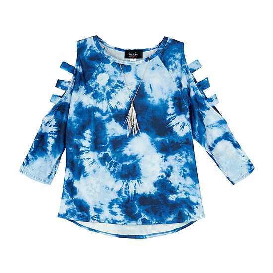 by&by girl Big Girls Crew Neck 3/4 Sleeve Blouse