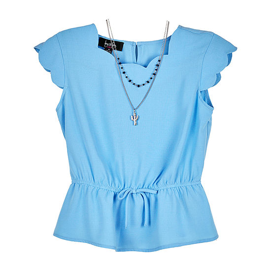 by&by girl Big Girls Scallop Neck Short Sleeve Blouse