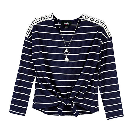 by&by Big Girls Long Sleeve T-Shirt, Small , Blue
