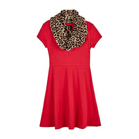 60s 70s Kids Costumes & Clothing Girls & Boys byby girl Big Girls Short Sleeve Cap Sleeve Skater Dress Small  Red $20.99 AT vintagedancer.com