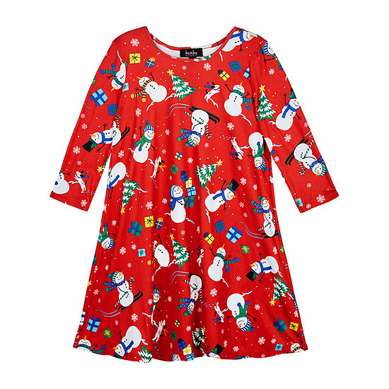by&by girl Big Girls Long Sleeve Drop Shoulder Sleeve Holiday A-Line Dress