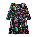 by&by girl Big Girls Long Sleeve Fitted Sleeve Holiday A-Line Dress