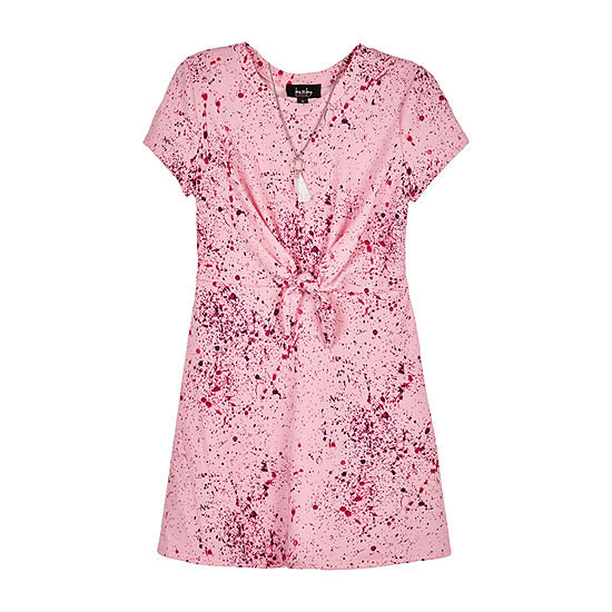 by&by girl Tie-Front Paint Splatter Big Girls Short Sleeve Abstract T-Shirt Dress