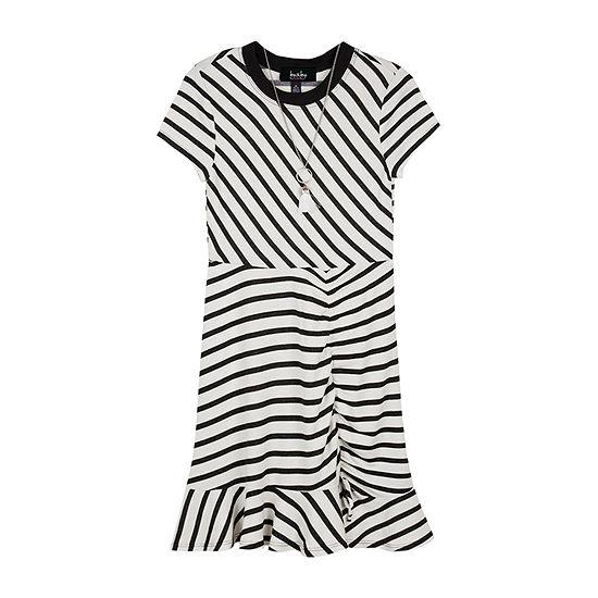 by&by Big Girls Short Sleeve Striped T-Shirt Dress