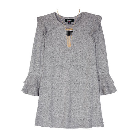 by&by Big Girls Long and Flutter Sleeve Sweater Dress, Small (7-8) , Gray