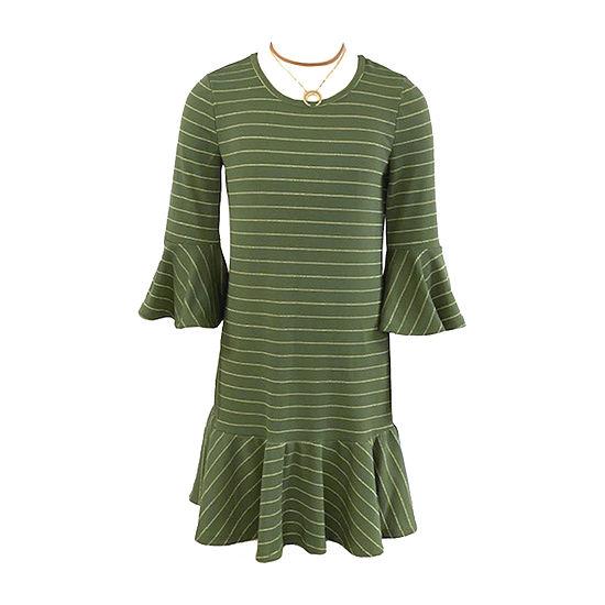Amy Byer Big Girls 3/4 Bell Sleeve Shift Dress
