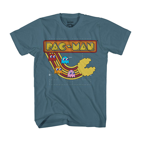 Big and Tall Mens Crew Neck Short Sleeve Pacman Retro Graphic T-Shirt
