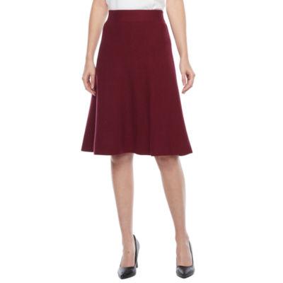 Liz Claiborne Womens Mid Rise Midi A-Line Skirt