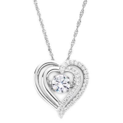 DiamonArt® Dancing Cubic Zirconia Sterling Silver Heart Pendant Necklace