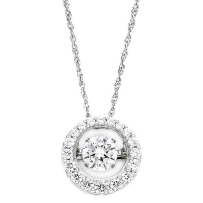 DiamonArt® Dancing Cubic Zirconia Sterling Silver Circle Pendant Necklace