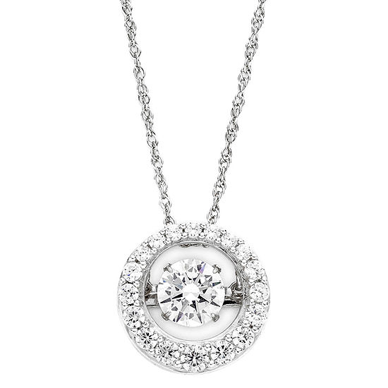DiamonArt® Dancing Cubic Zirconia Sterling Silver Circle Pendant Necklace