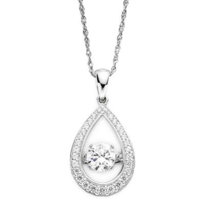 DiamonArt® Dancing Cubic Zirconia Sterling Silver Teardrop Pendant Necklace