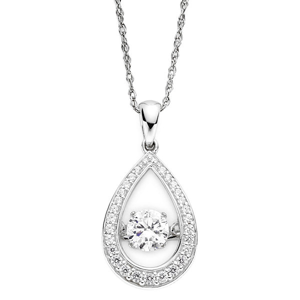 Diamonart sterling silver dancing cubic zirconium pendant diamonart dancing cubic zirconia sterling silver teardrop pendant necklace mozeypictures Gallery