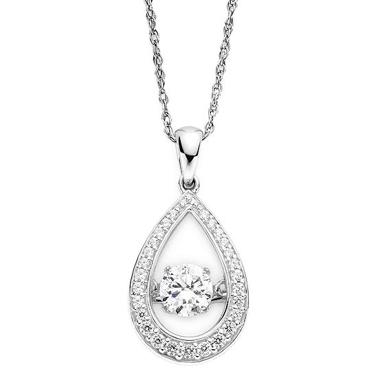 DiamonArt® Dancing Cubic Zirconia Sterling Silver Teardrop Pendant Necklace