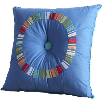 "Fiesta Blue Circle 18"" Square Decorative Pillow"
