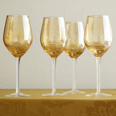 JCPenney Home™ Amber Crackle Set of 4 Wine Glasses