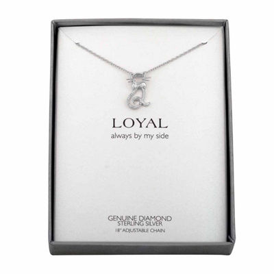 Womens Diamond Accent Genuine White Diamond Sterling Silver Animal Pendant Necklace
