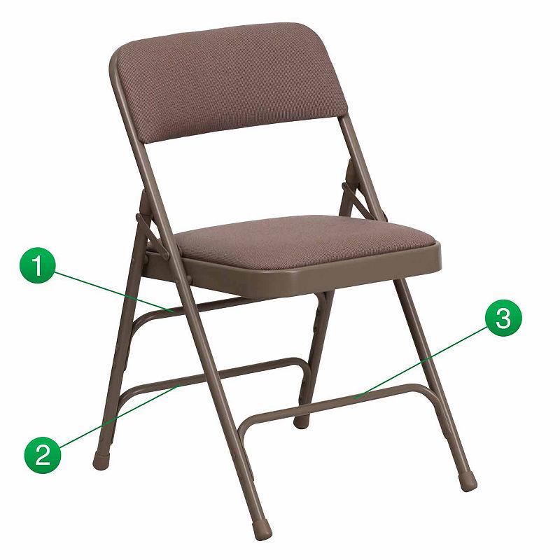 HERCULES Series Curved Triple Braced & Double Hinged Upholstered Metal Folding Chair, Brown