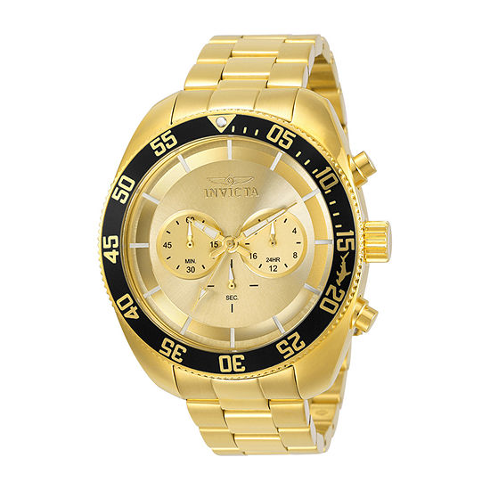 Invicta Pro Diver Mens Chronograph Gold Tone Stainless Steel Bracelet Watch-30059
