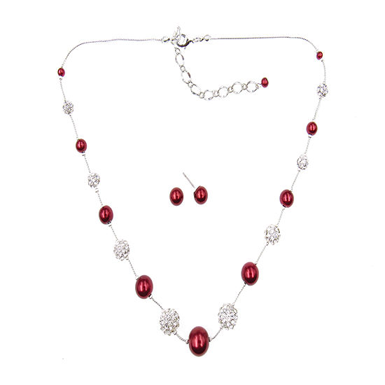 Vieste Rosa 2-pc. Red Simulated Pearl Jewelry Set