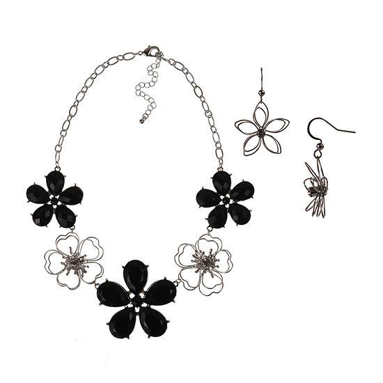 Mixit Black Flower 2-pc. Jewelry Set