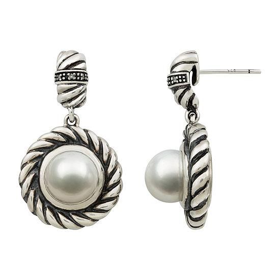 White Sterling Silver Drop Earrings
