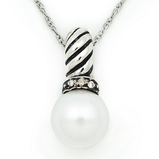 Womens White Sterling Silver Pendant Necklace
