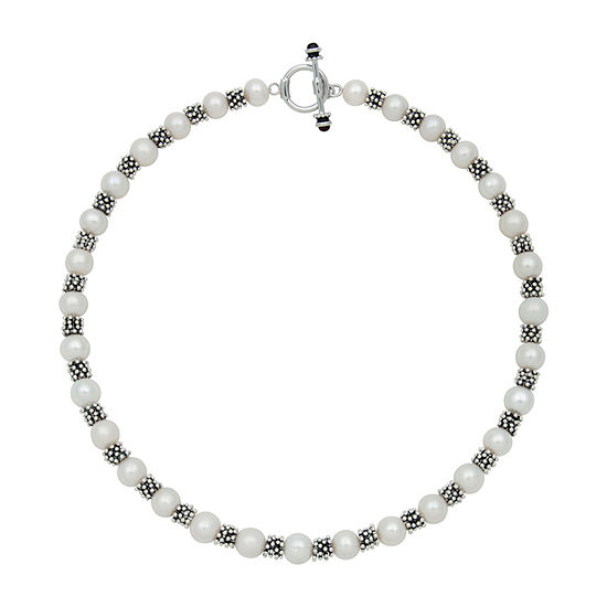 Womens White Sterling Silver Strand Necklace