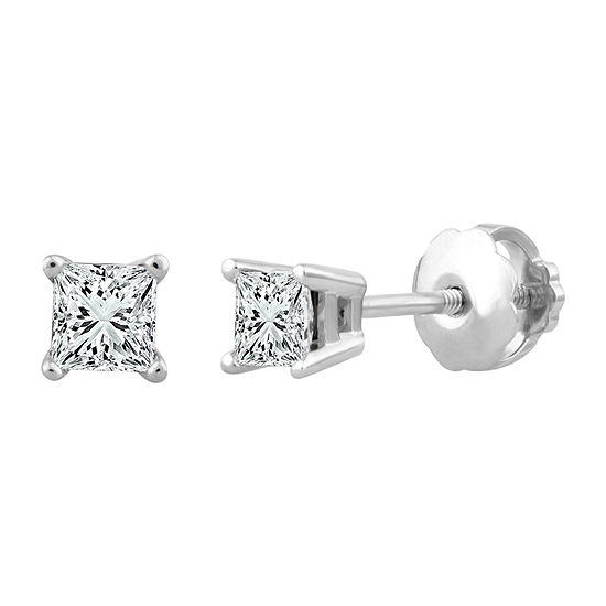 Premier Collection 1/4 CT. T.W. Genuine Princess-Cut Diamond Stud Earrings