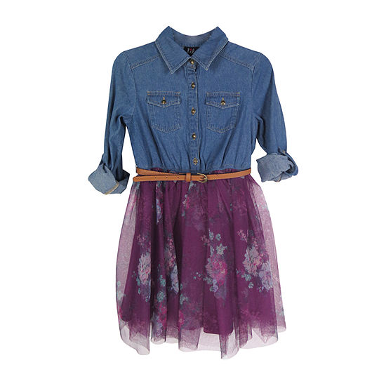 Lilt Long Sleeve Cuffed Sleeve Tutu Dress - Preschool / Big Kid Girls
