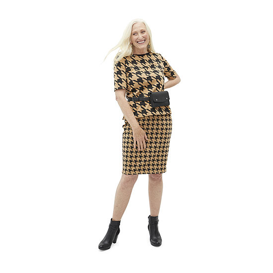 Shades of Brown: Liz Claiborne  Houndstooth Ponte Top And Pencil Skirt