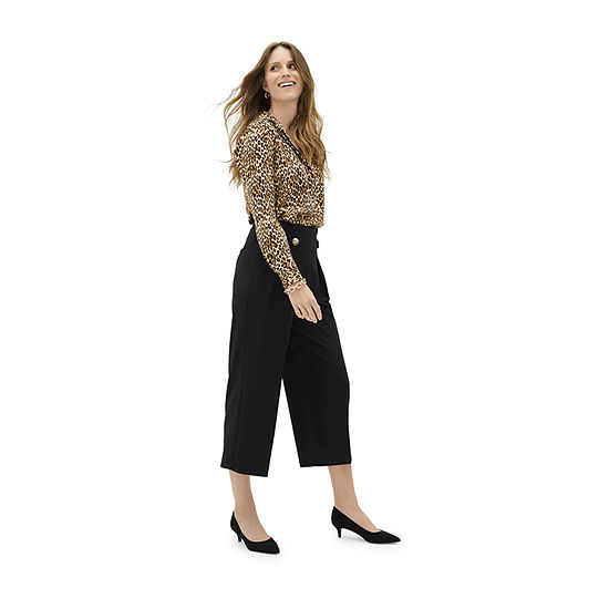 Shades of Brown: Worthington Animal Print Tunic with Black Pleated Trouser