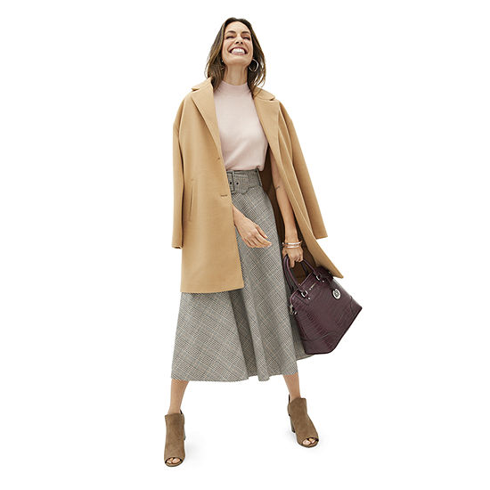 Shades of Brown: Worthington Boucle Skirt, Sleeveless Mock Neck, and Camel Lady Coat