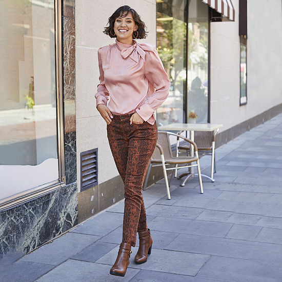 Shades of Brown: Worthington Rose Tie Neck Satin Blouse with A.N.A. Brown Snake Skinny Jean