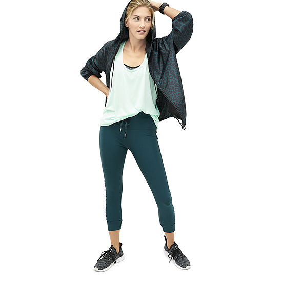 Xersion Pine Cheetah Jacket, Legging, and Mint Tank