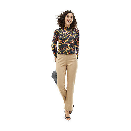 Shades of Brown: Worthington Black Bond Tie Neck Blouse with Tennyson Brown Straight Leg Pant