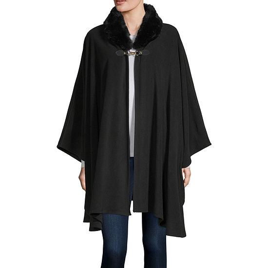 Liz Claiborne Faux Fur Collar Fleece Wrap