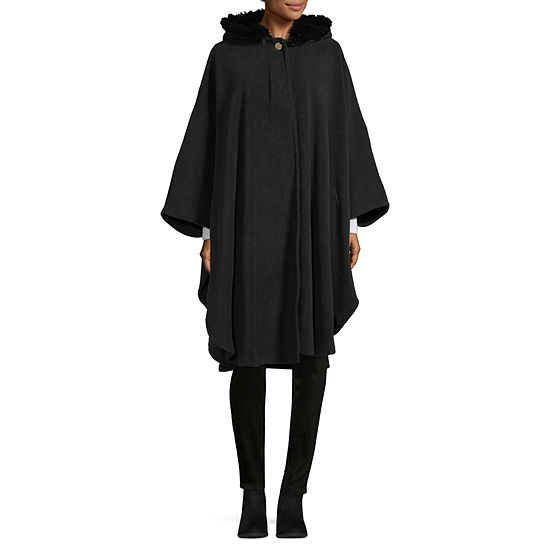 Liz Claiborne Faux Fur Hooded Fleece Wrap