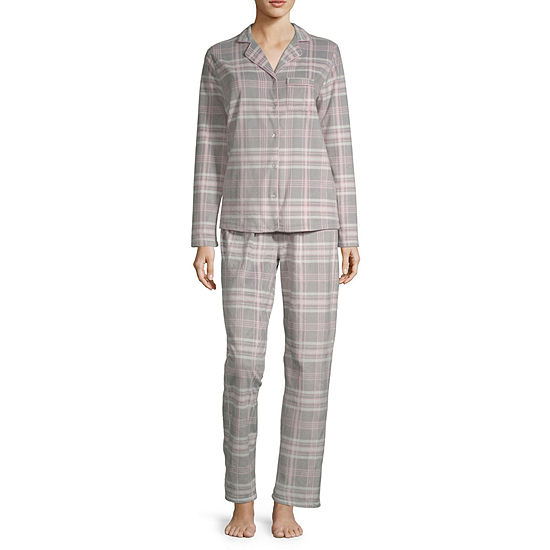 Adonna Womens Long Sleeve 2-pc. Pant Pajama Set