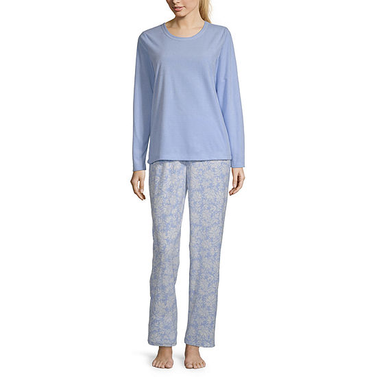 Adonna Womens Long Sleeve Pant Pajama Set 2-pc.-Petite