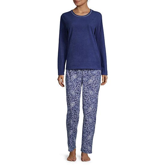 Adonna Womens Long Sleeve Pant Pajama Set 2-pc.-Petite