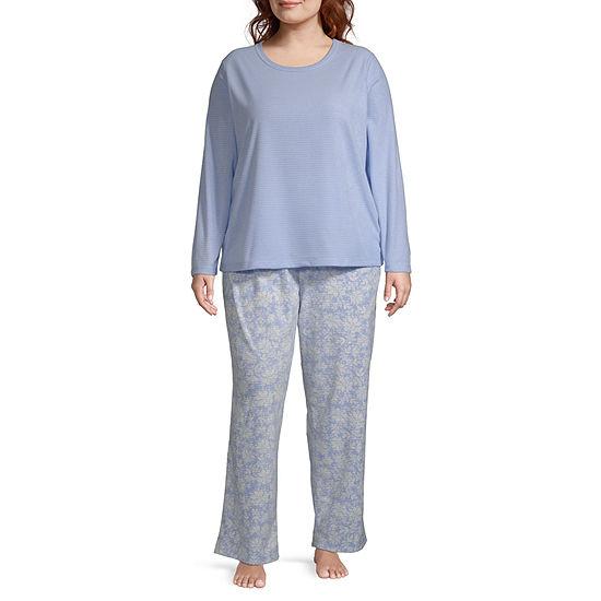 Adonna Womens Long Sleeve -Plus Pant Pajama Set 2-pc.